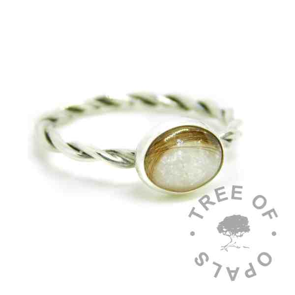 white hair ring on a handmade EcoSilver twisted band stacking ring. 10x8mm cabochon with lock of hair and custom unicorn white resin sparkle mix