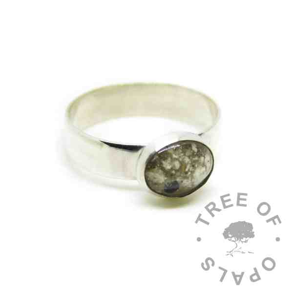 6mm wide shiny ash ring, classic ash, no color or birthstones