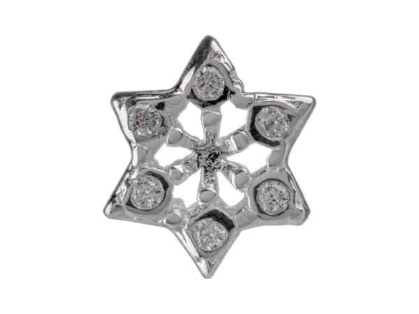 snowflake solid sterling silver snowflake charm for Chamilia and Pandora bracelets with cubic zirconia