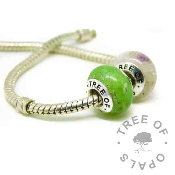 ash charm duo on Pandora bracelet style chain