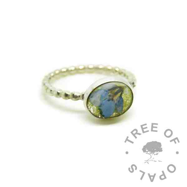 cremation ash ring yellow forget me not - ashes ring