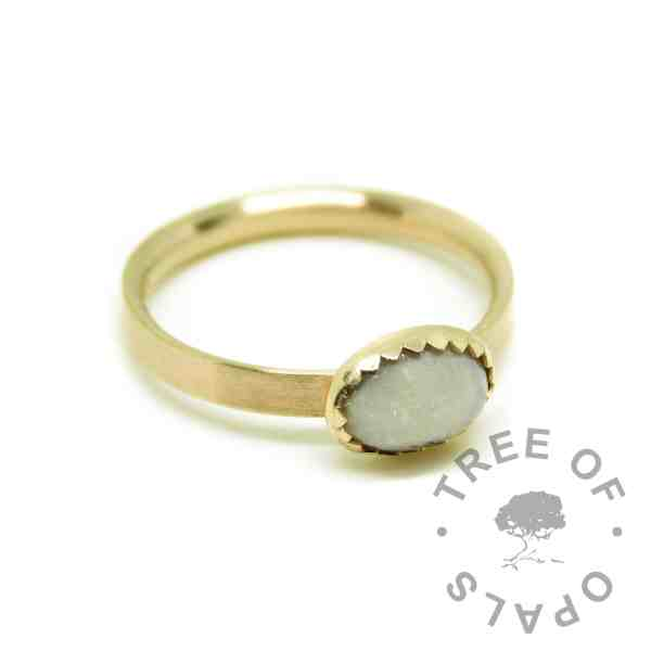 Solid gold cremation ash ring with unicorn white resin sparkle mix. Brushed band gold ring solid 14ct gold with serrated setting