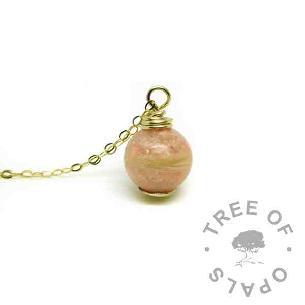 solid gold lock of hair and cremation ash pearl with fairy pink resin sparkle mix - gold hair necklace memorial jewellery