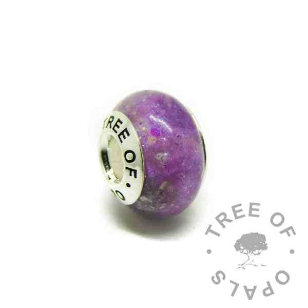 orchid purple cremation ashes charm