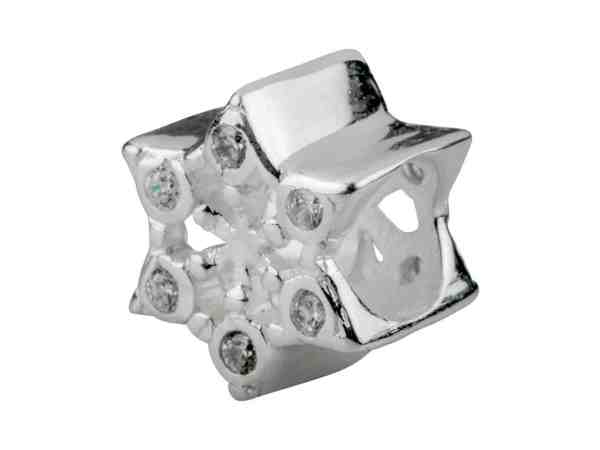 snowflake solid sterling silver charm for Chamilia and Pandora bracelets with cubic zirconia