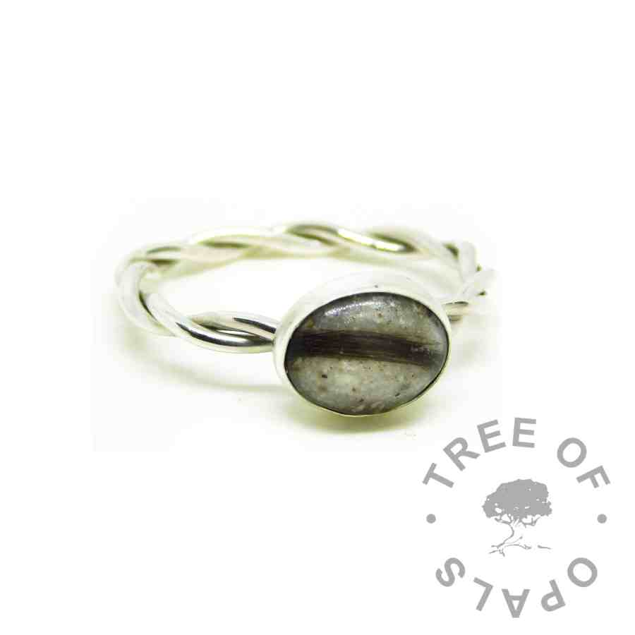unicorn white cremation ashes ring with lock of hair addition. Twisted wire band, Argentium silver 935 purity