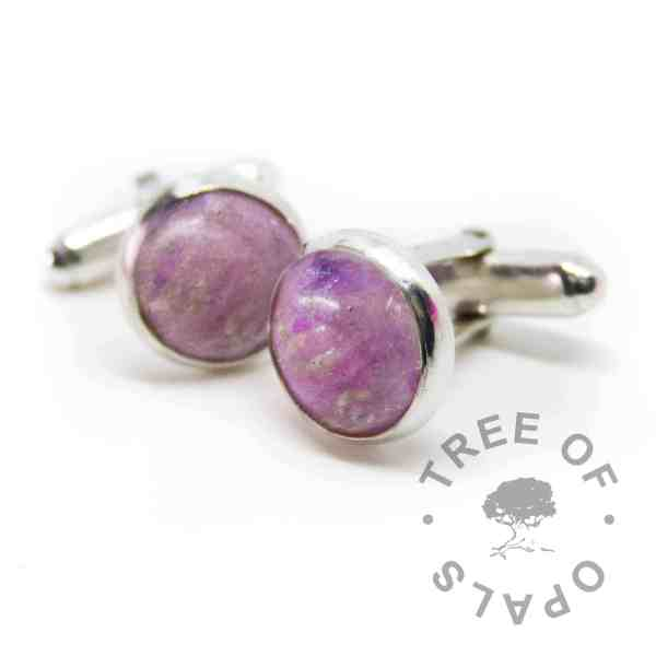 cremation ashes cufflinks orchid purple sparkles. Solid sterling silver setting