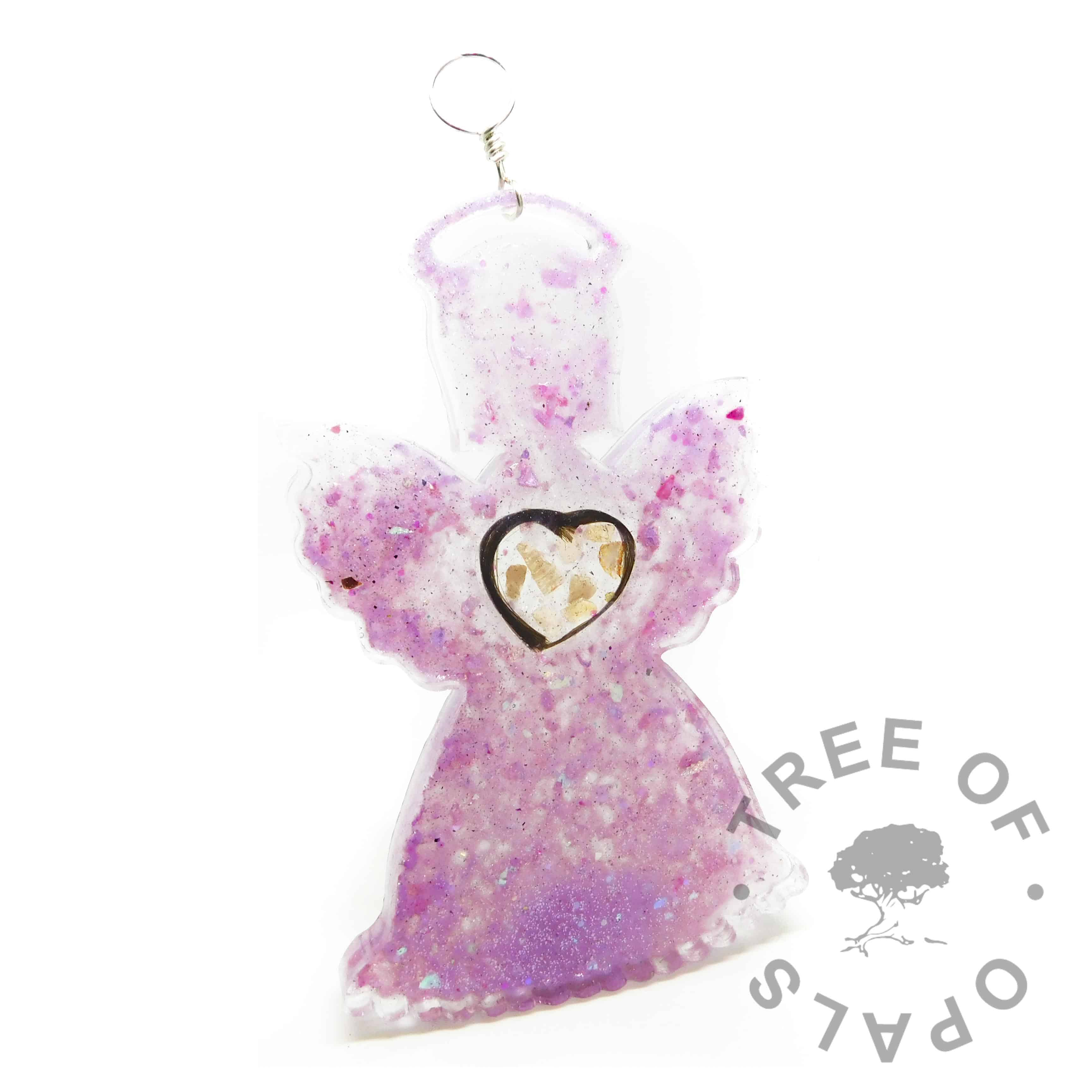 orchid purple lock of hair angel ornament for Christmas. Memorial ornament