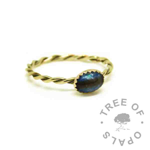 blue gold ashes ring, Aegean blue resin sparkle mix, 14ct gold twisted wire band
