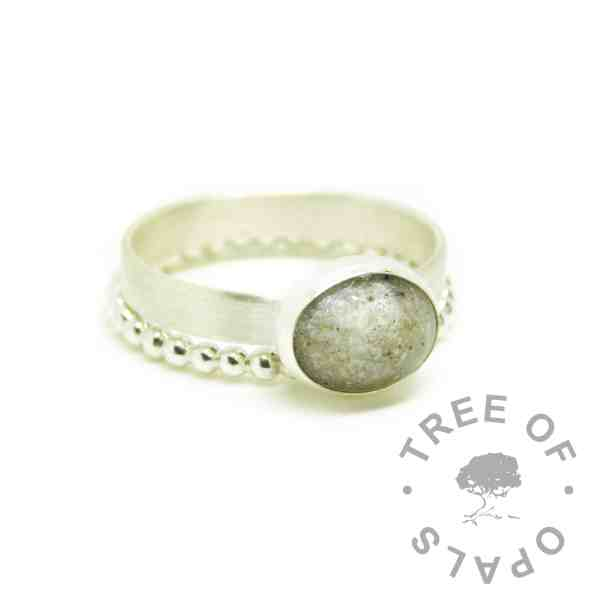 white ashes ring and bubble wire stacker. Unicorn white resin sparkle mix and cremation ashes on a brushed band