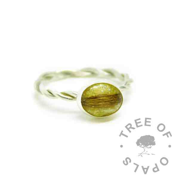yellow hair ring, chimera yellow resin sparkle mix, twisted wire Argentium silver band