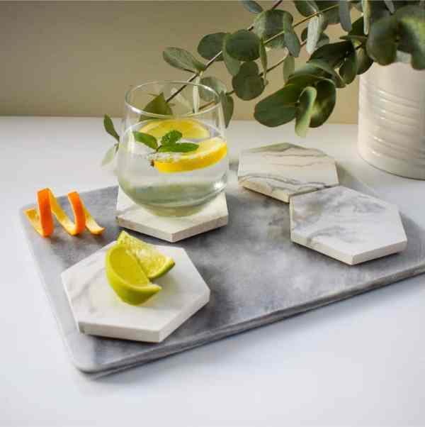 Concrete Hexagon Coasters - White Marble
