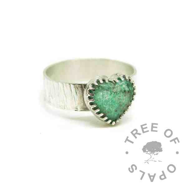 Limited edition aqua ashes ring, memorial DNA jewellery cremation ashes heart ring on 6mm tree bark band. Angelic aqua resin sparkle mix. 12mm scalloped edged heart