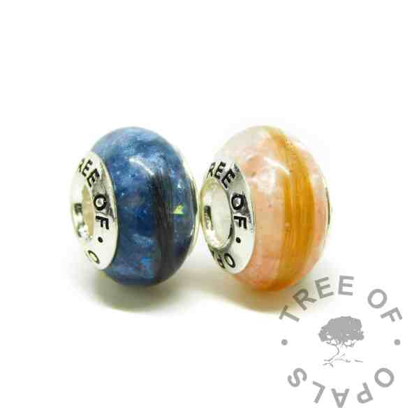 hair charm duo, lock of hair charm beads with aegean blue and fairy pink resin sparkle mixes