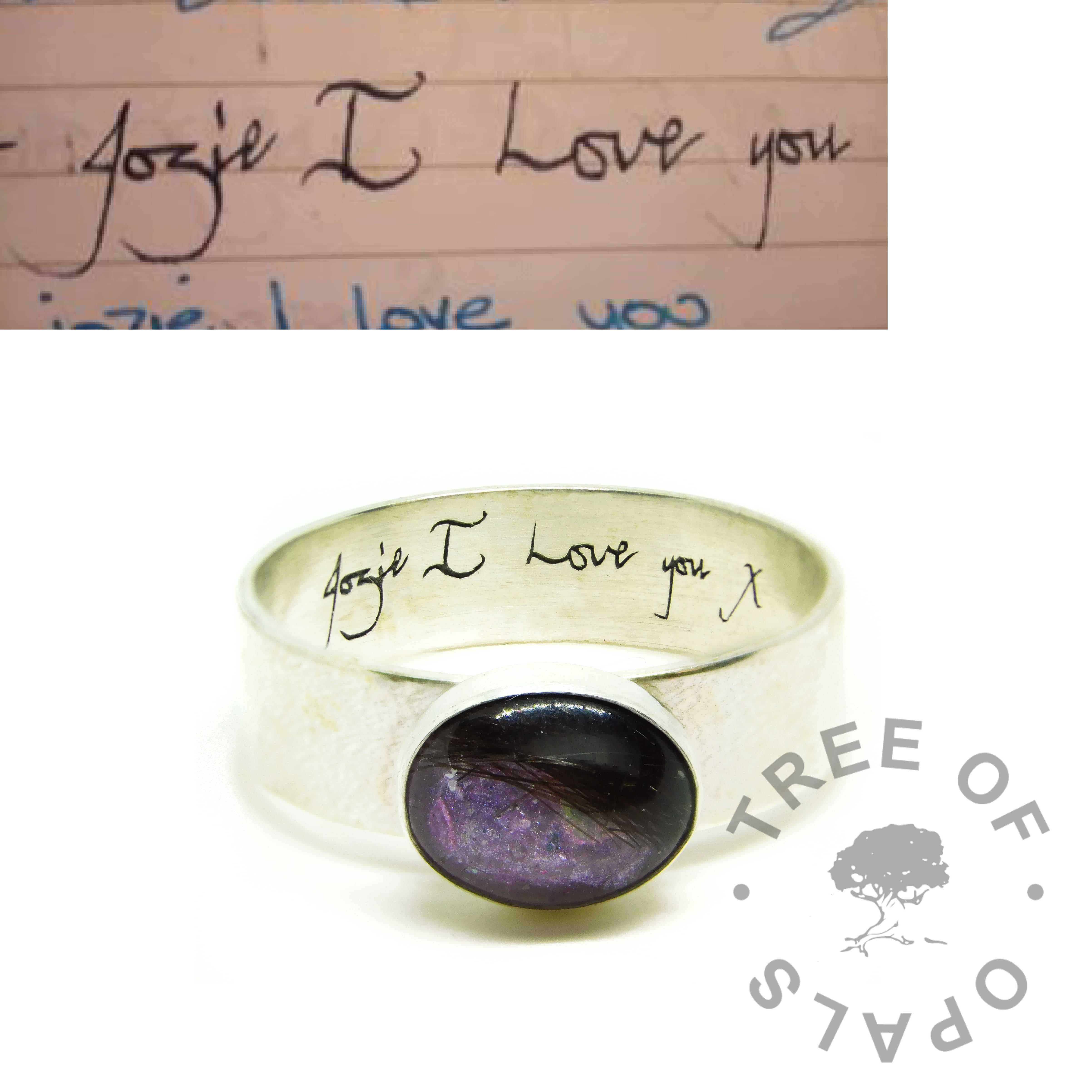 purple hair ring handwriting, lock of hair ring on 6mm shiny band with handwriting engraving on the inside. Orchid purple resin sparkle mix