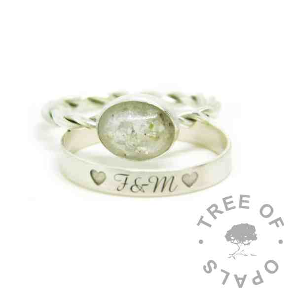 ashes jewellery white ashes ring, cremation ashes ring on twisted band. Unicorn white resin sparkle mix, naturally light ashes. Engraved wide band brushed stacking ring, outside in Amazone BT font