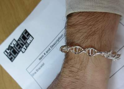DNA jewellery from the I Love Science Store, image courtesy of Michael Pereckas on Flickr