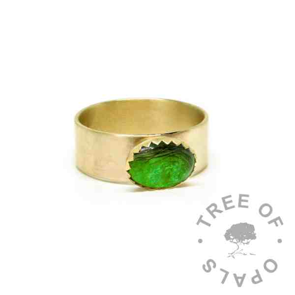 chunky gold hair ring wide band, 9ct gold brushed band, basilisk green resin sparkle mix. Mockup