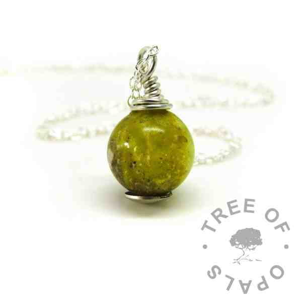 yellow ashes orb, wire wrapped necklace setting. Chimera yellow resin sparkle mix