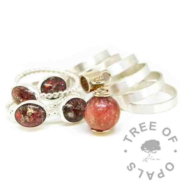 solid gold ashes charm orb and rings. Dragon's blood red resin sparkle mix ashes jewellery family order