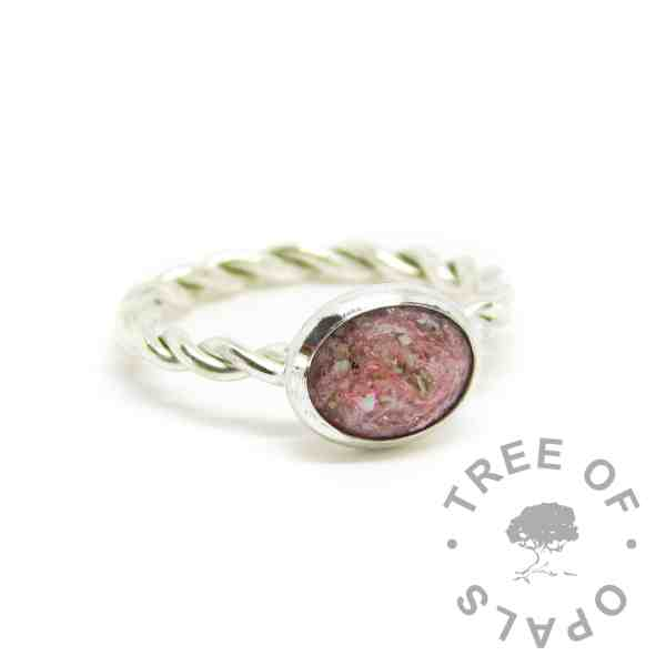 pink ring ashes jewellery - fairy pink resin sparkle mix, cremation ashes, twisted band