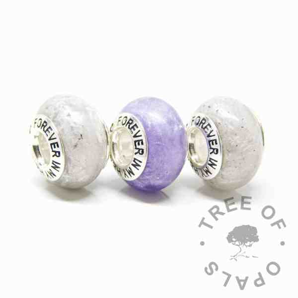 white and purple ashes beads with forever in my heart bead cores. Unicorn white and orchid purple resin sparkle mix