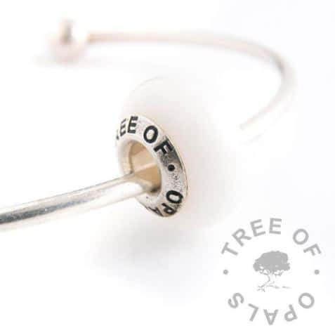 Classic breastmilk bead with Tree of Opals solid sterling silver core