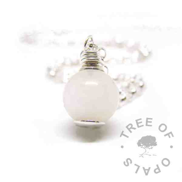 breastmilk orb wire wrapped, classic breastmilk, shown with medium classic chain upgrade