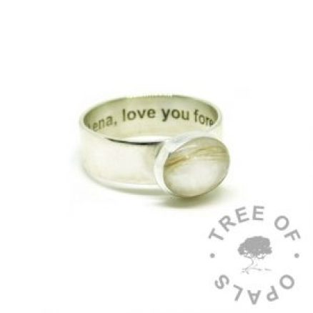 silver breastmilk ring, 10x8mm setting with hair and breastmilk. 6mm shiny band, 935 anti-tarnish silver, engraved inside in Arial font