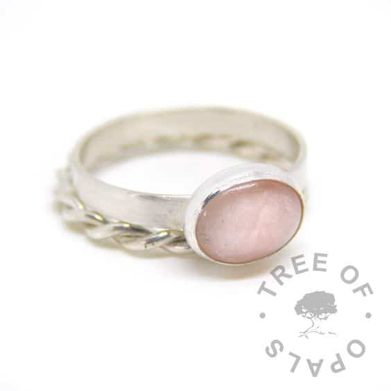 breasmilk ring with fairy pink resin sparkle mix. 3mm brushed band, shown with twisted wire slim stacking ring