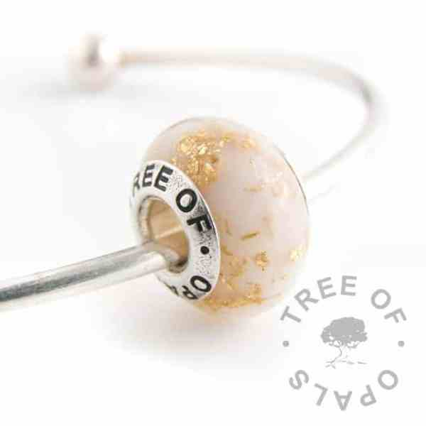 breastmilk bead with gold leaf, golden boobies (twelve month breastfeeding award). Tree of Opals core