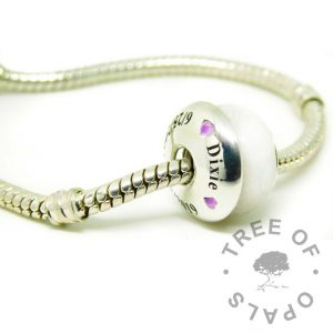 classic breastmilk bead with engraved washer and bracelet. Tree of Opals core