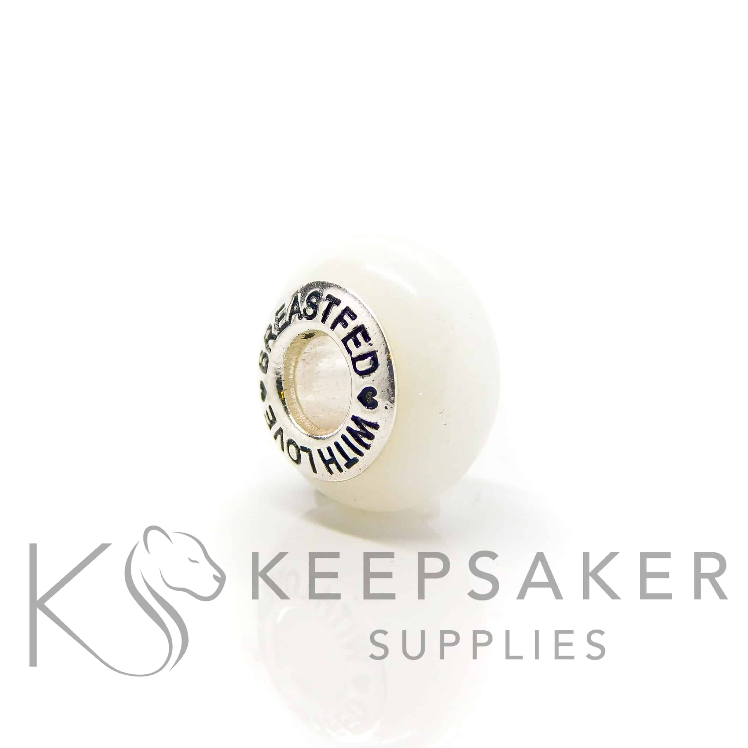 """classic breastmilk bead with """"breastfed with love"""" core. No sparkle mix just preserved breastmilk and resin with solid sterling silver setting. Perfect for Pandora bracelets"""