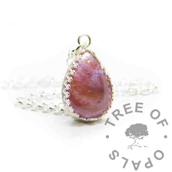 Pink hair teardrop necklace. Crown point teardrop setting in solid sterling silver, 925 stamped. Fairy pink resin sparkle mix. Shown with a medium classic chain (not included)