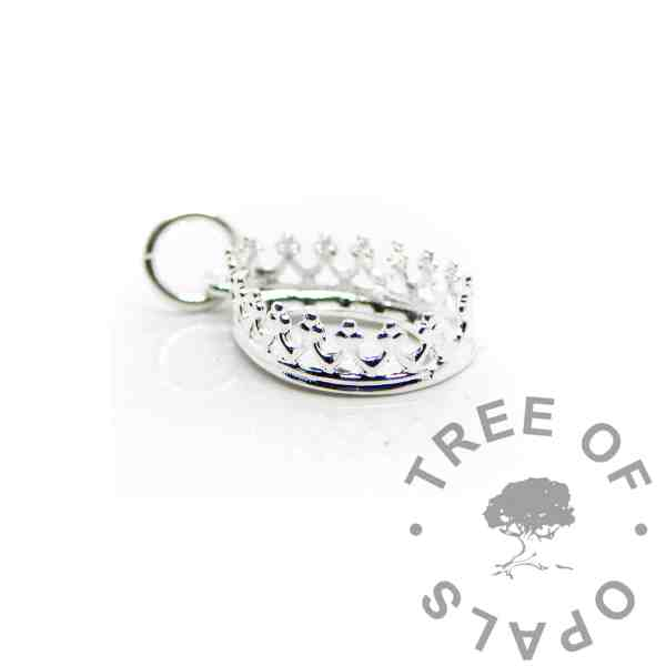 14x10mm small shiny silver crown teardrop setting, 925 stamped solid sterling silver with a jump ring