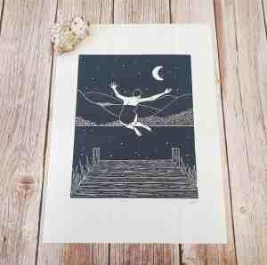 Moonlit Joy- Original linocut print of a women jumping into water under a starry sky