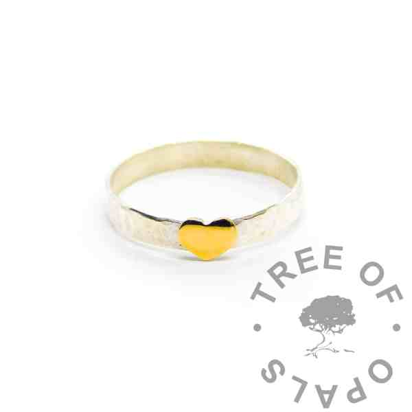 gold heart stacking ring, solid silver stacking ring with textured finish, solid yellow gold heart accent (by special request only)