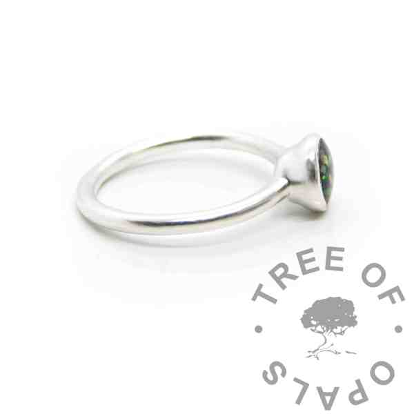 Ayla Solitaire Ring, fill with resin and it's secure. Cast Argentium 935 anti-tarnish silver (higher purity than sterling)