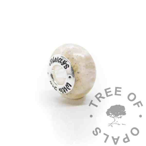ashes and white bead cremation ashes and unicorn white resin sparkle mix, Pandora style bead core