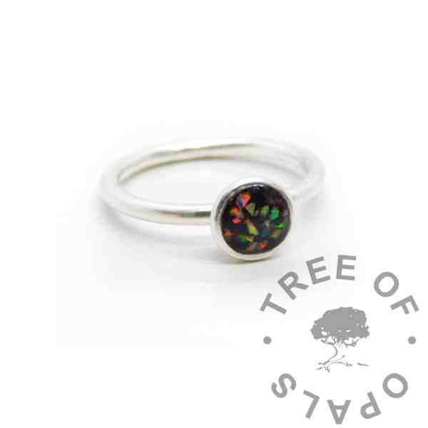 Ayla Umbilical Cord Ring, opal cord Ayla Solitaire Ring, umbilical cord, clear resin and synthetic crushed opal. Cast Argentium 935 anti-tarnish silver (higher purity than sterling)