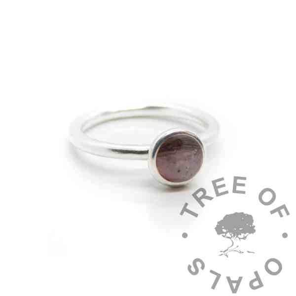 Pink ashes and lock of hair Ayla Solitaire Ring, fairy pink resin sparkle mix. Cast Argentium 935 anti-tarnish silver (higher purity than sterling)