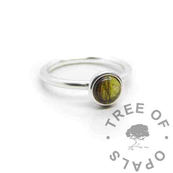 Yellow hair Ayla Solitaire Ring, brunette hair, clear resin with chimera yellow resin sparkle mix made into a cabochon (stone) and set into the ring with glue. Cast Argentium 935 anti-tarnish silver (higher purity than sterling)