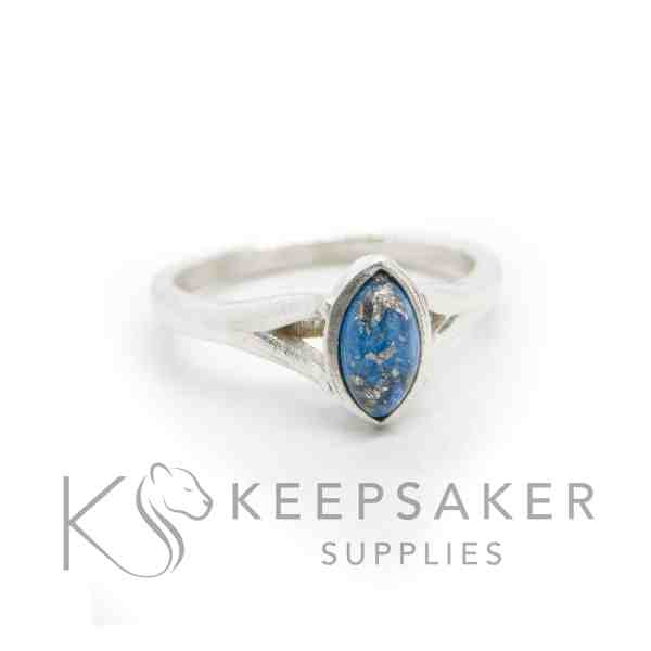 Making Your Own Ashes Jewellery blue Hannah cremation ashes ring, cremation ashes and Aegean blue resin sparkle mix with platinum leaf. 8x4mm marquise setting
