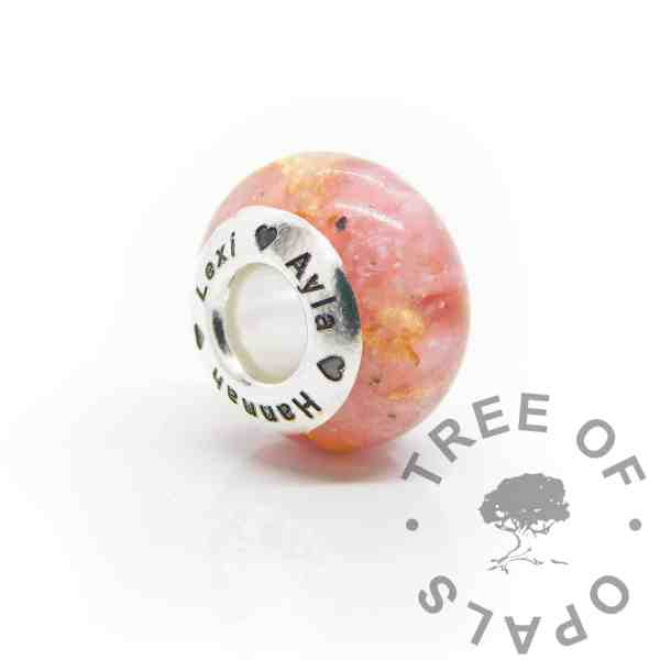 Engraved cremation ashes bead, pink sparkle mix and gold leaf