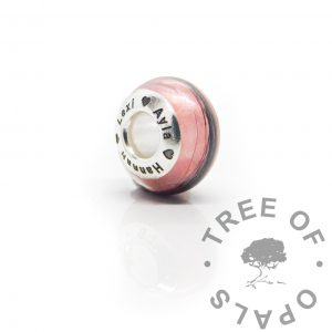 Engraved lock of hair bead fairy pink resin sparkle mix, Tree of Opals bead core lock of hair bead