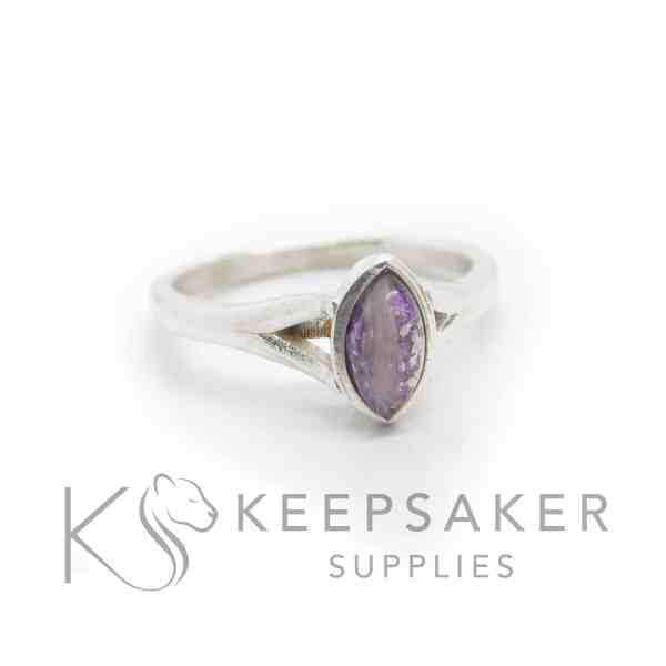 purple Hannah lock of hair ring, hamster fur and orchid purple resin sparkle mix, platinum leaf. 8x4mm marquise setting