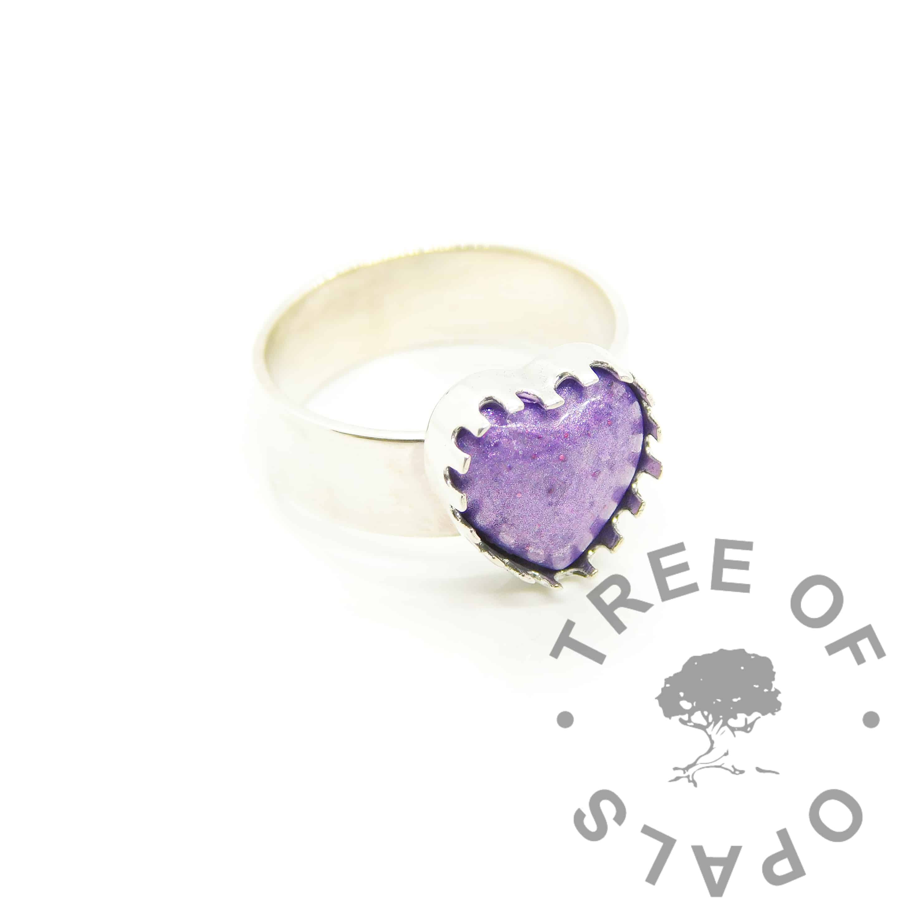 cremation ashes heart ring 10mm cast heart setting open backed in solid silver, with loop and jump ring, shown with orchid purple ashes cabochon