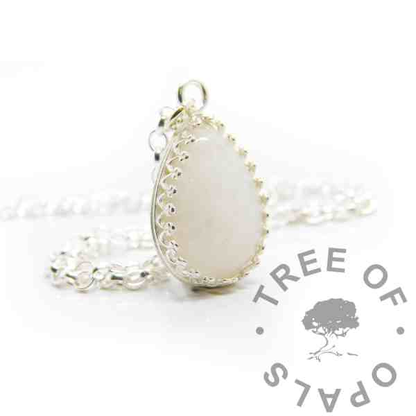 Classic breastmilk teardrop necklace. Crown point teardrop setting in solid sterling silver, 925 stamped. Shown with a medium classic chain (not included)
