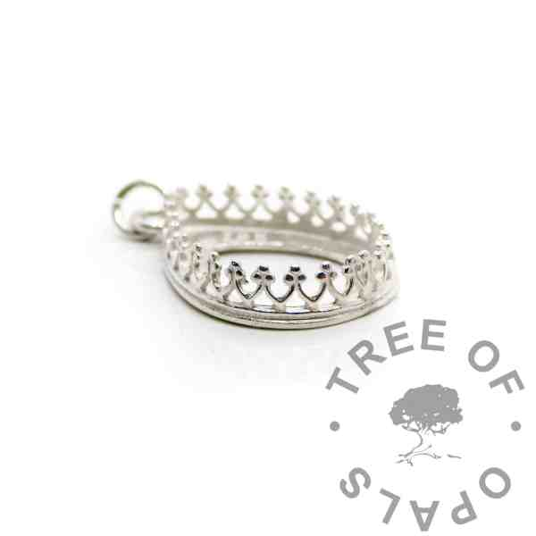 18x13mm shiny silver crown teardrop setting, 925 stamped solid sterling silver with a jump ring