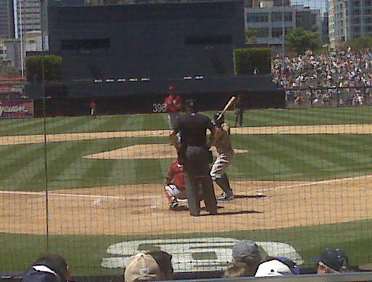 Little T at bat. Yes, we were this close!